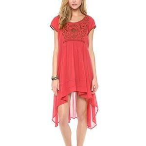 Free People Marina Embroidered High Low Dress XS